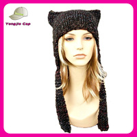 Womens Knitted Ear Flap Cat Hat in Black Grey Maroon