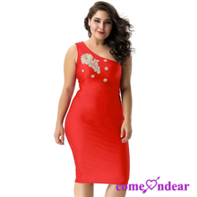 Factory Price Latest Sexy Plus Size One Shoulder Bodycon Women Bandage Dress