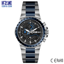 good quality steel black two tone color chronograph wrist watches men