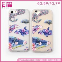 Transparent tpu flowers painting whale animal cell phone case for iphone 7s 7plus mobile phone accessories