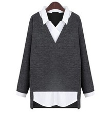 C64368A 2015 fashion big size knited blouse for women