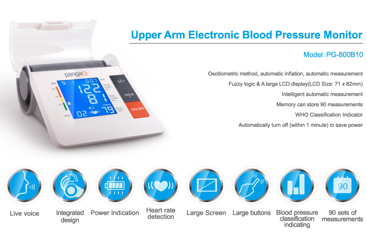 Blue backlight Blood Pressure Monitor with large display