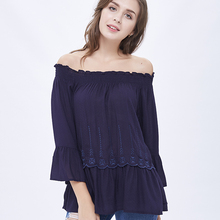 wholesale china clothing chiffon women off shoulder top blouse