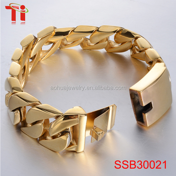 IP gold plated 316l thick Stainless Steel bracelet for men