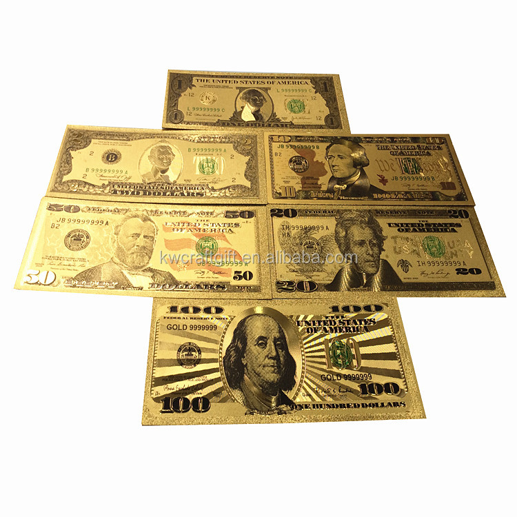 999.9 gold US dollar banknote set, 24k gold foil currency banknote