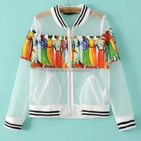 combination printing organza thin life jacket,summer riding jacket,summer windbreaker jacket