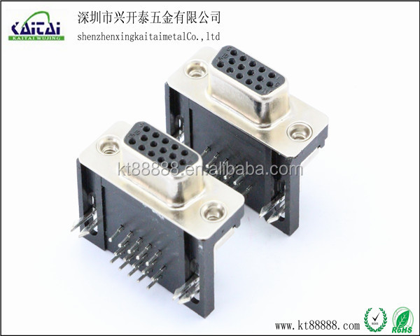 vga 15 pin female pcb mount connector for d sub