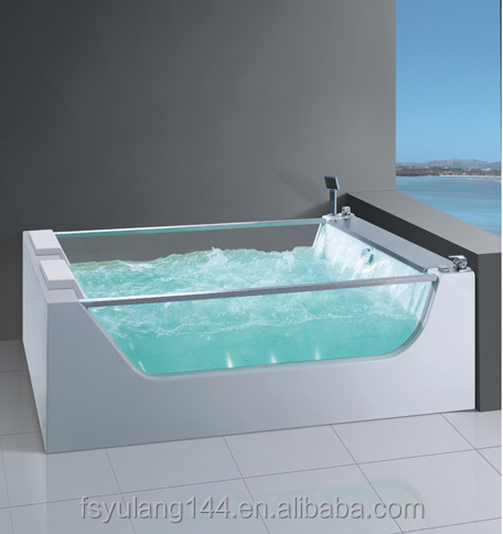AD-626 China manufactuer bathtub jakozi sizes clear glass hot tub for two person freestanding hydromassage tube with TV