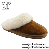 Chestnut suede upper indoor genuine sheepskin slipper