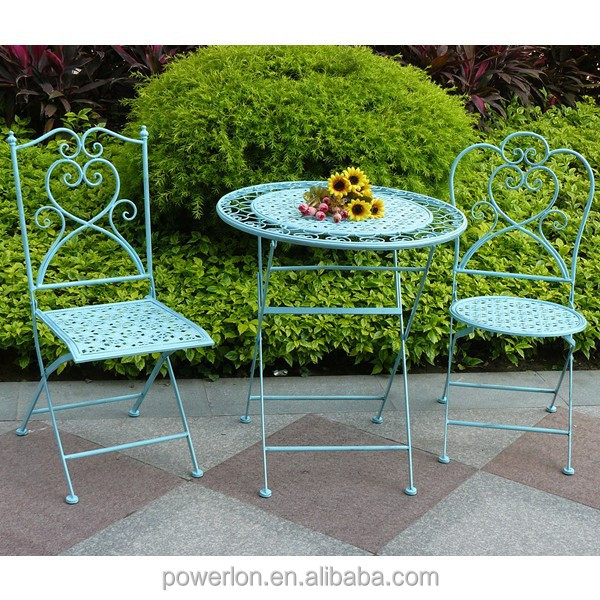 Antique blue shabby chic bistro set outdoor furniture wrought iron materials