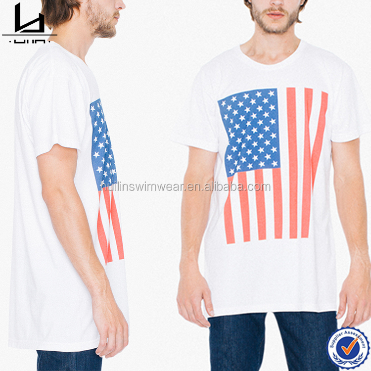 Top quality US flag fitness shirts men blank t shirts wholesale clothing custom logo t-shirts for men