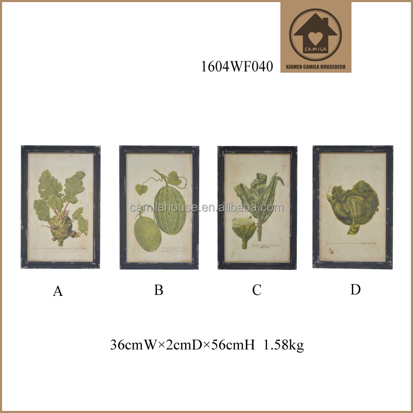 Distressed Hand-drawn Wall Mounted Vegetable Pictures Prints