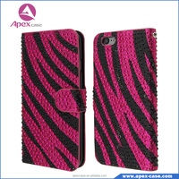Bling Bling Zebra Skin Pattern Diamond Flip Wallet Case for iphone