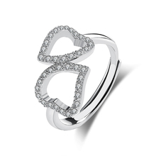 stamped S925 solid silver dating gift connected heart rings gold plated