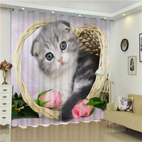 Curtain Luxury Beautiful 3D Printed Cute Cat Series Beaded Double Swag Window Curtain With Valance