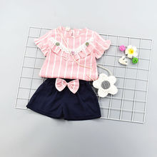 short sleeved Korean version summer trend cotton linen two piece cotton clothes Sweet girls dress with bow