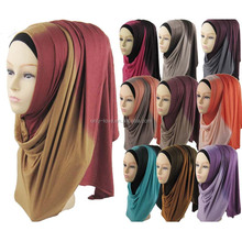 2016 new ombre two tone jersey hijab fashion scarf shawl muslim hijabs JLS130