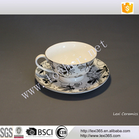 new bone china porcelain 200cc tea coffee cup and saucer set with flower design