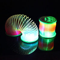 plastic pop loom rubber bands led flashing light up coil magic rainbow spring toy