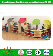 Cartoon design kindergarten furniture wooden kids toy cabinet for sale