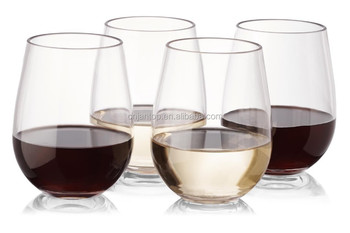 16oz BPA free Tritan unbreakable stemless acrylic plastic wine glass