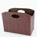 Naham colorful PVC faux leather storage basket with handle