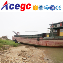 Self propelled river sand loading transporting conveyor barge boat vessel
