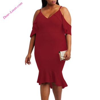 Burgundy Plus Size Ruffle Cold Shoulder Flounced Woman Sexy Dress photos
