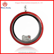 new Products for 2014 30mm Round Stainless Steel Red face Floating enamel Locket pendant for necklace making
