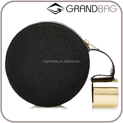 luxury small stingray skin evening clutch fashion 2016 new design round clutch handbag with brass bangle for ladies