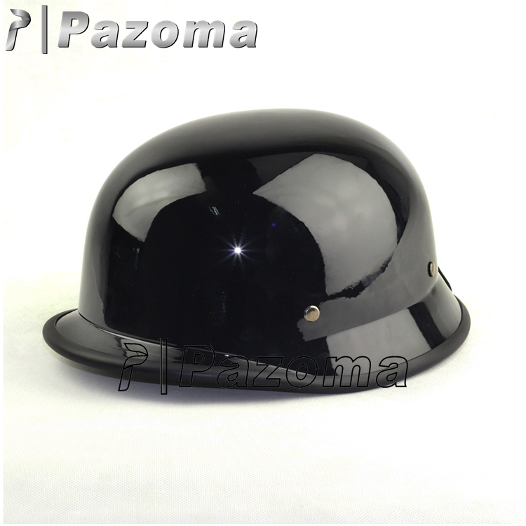 Newest Pazoma Black Low Profile WWII German Half Helmet German Style Motorcycle Half Helmet