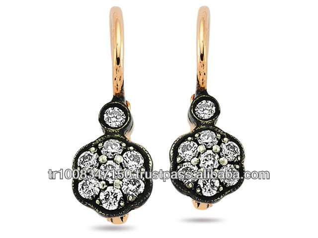 8K 14K 18K Gold Rose Cut Diamond Earrings Classic Jewellery