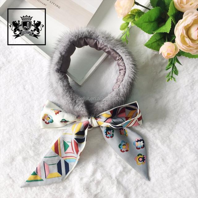 Women winter knitted real mink fur soft warm neck wear fur scarf