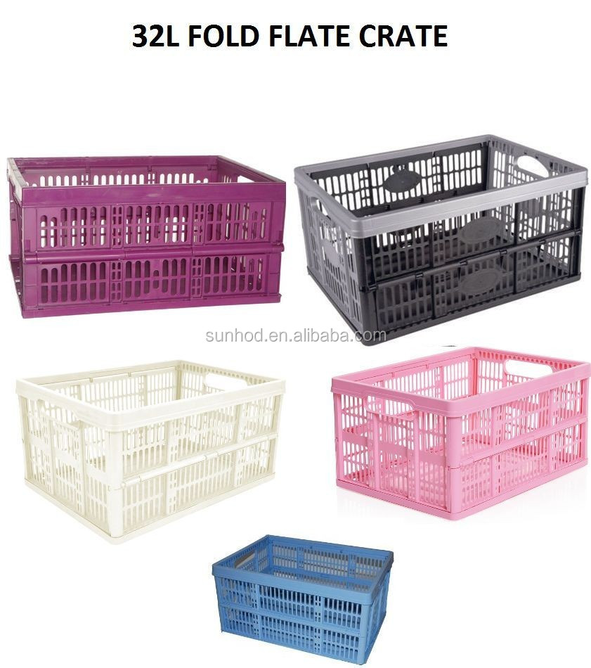 6 X 32 LITRE FOLDABLE CRATE PLASTIC STORAGE BOX BASKET CRATES FLAT GOOD FOR CARS