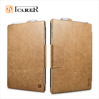 ICARER Genuine Leather Case for Microsoft Surface Pro 4 Flip Cover with Stand Function Luxury Series
