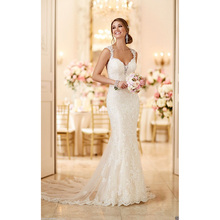 Custom Made Ivory Scoop Neck Backless Appliques Lace Mermaid wedding Dresses Wedding Gowns 2017