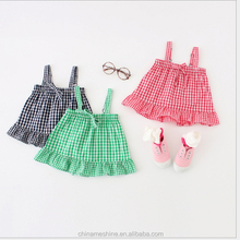 MS60348K 1 to 4 years summer check 2016 new fashion baby frocks