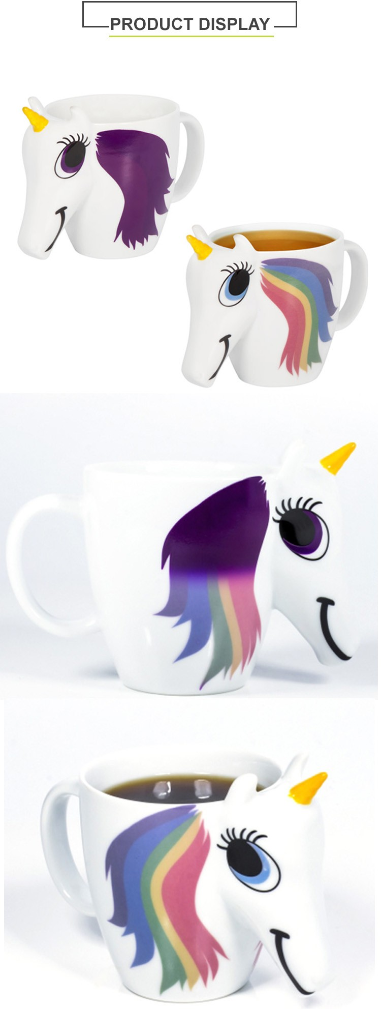 Color changing mug unicorn shaped mug with a 3D face and horn