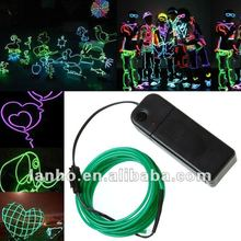 3M GREEN Flexible Neon Light Glow EL Wire Rope Tube Car Dance Party +Controller