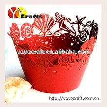 "wedding decoration laser ""sea shell"" lace cupcake wrappers wholesale and retail"