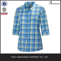 Stand collar shirt for women check plaid