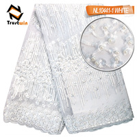 New arrival African beaded embroidery tulle lace fabric for wedding
