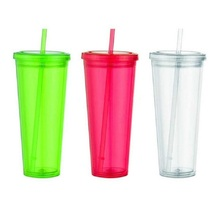 2016 best quality mug magic plastic freezer cup with lid and straw