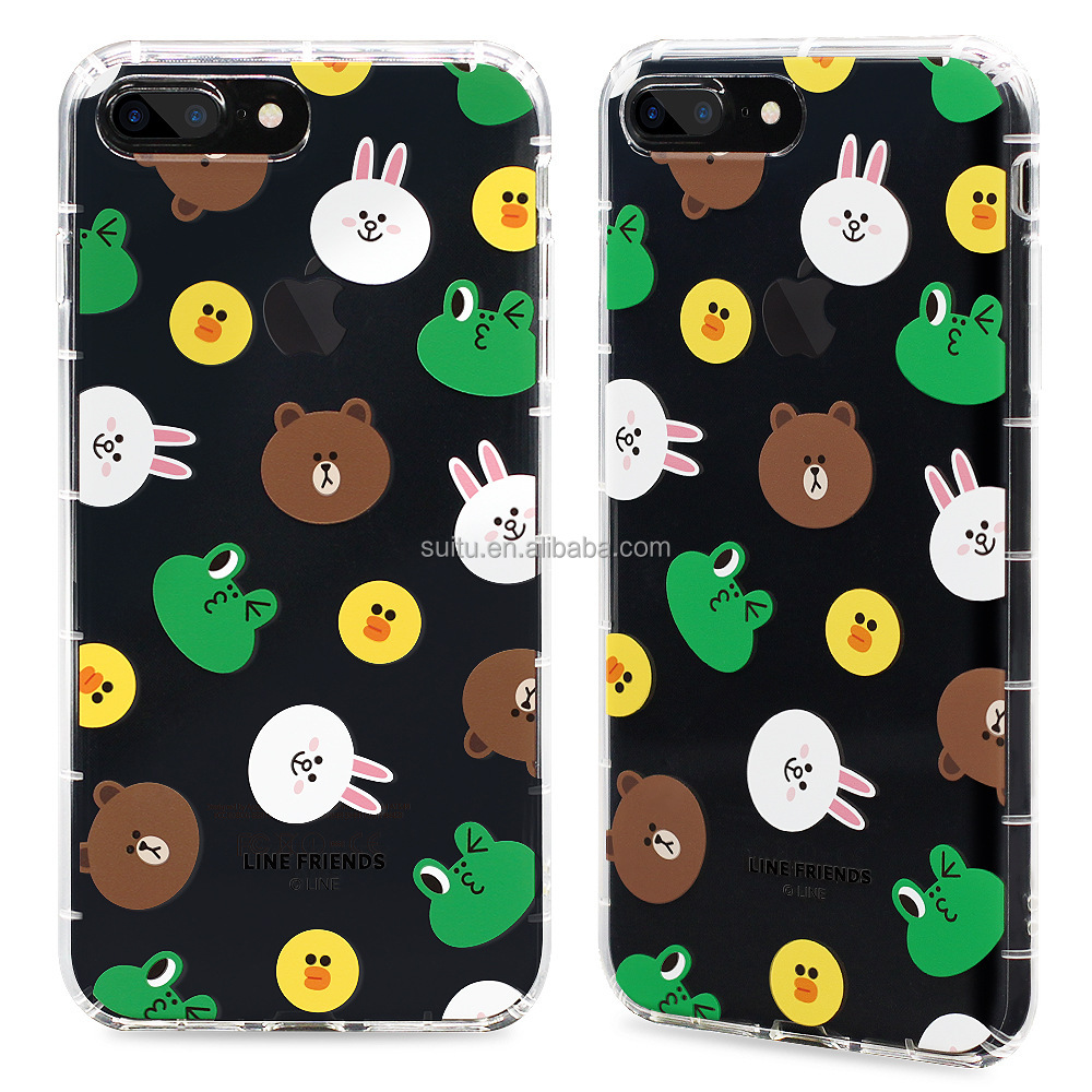 New arrival 2018 Korean fashion brand line friends brown mobile phone case for iphone 5/6/7/8/X plus for iphone 6s transparent