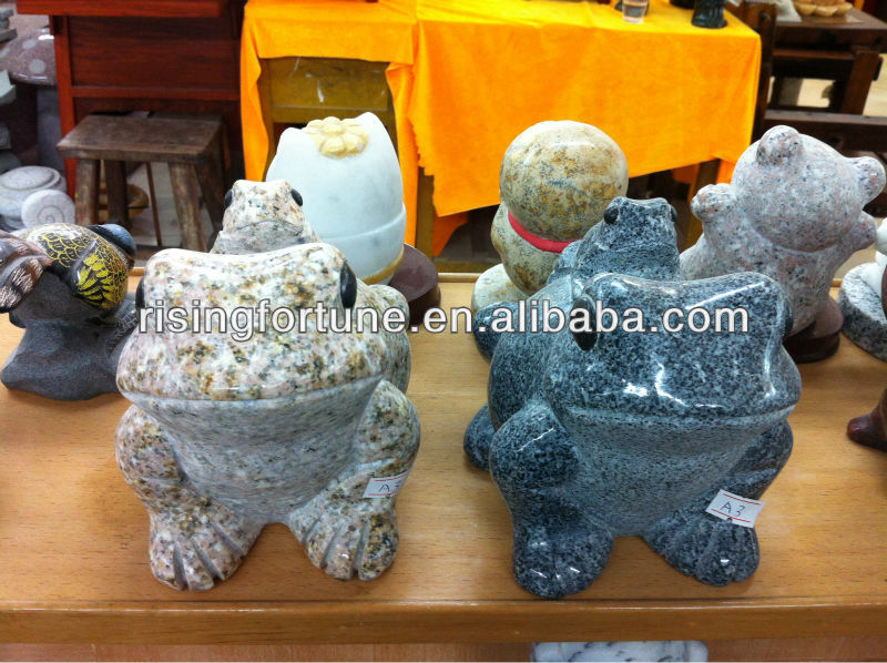 Natural stone small frog figurines