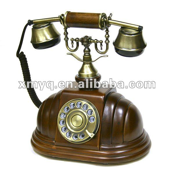 Telephone Manufacturer Solid Wood Antique Brass Telephone
