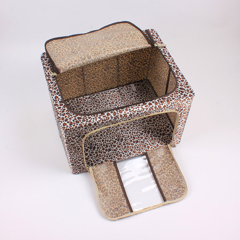 Customization  New Fashion Leopard Printed Organizer Home Storage Box with Lid