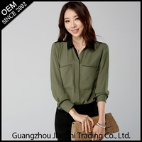 Fashion designs hot sale spring summer chiffon plus size long sleeve women blouse for lady