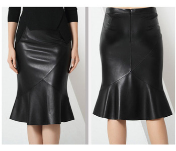 Shinny black women faux leather skirt, unique hem club skirt sexy ladies pencil skirt