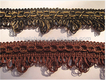Braid With Looped Fringe &decorative braid furnishing triming